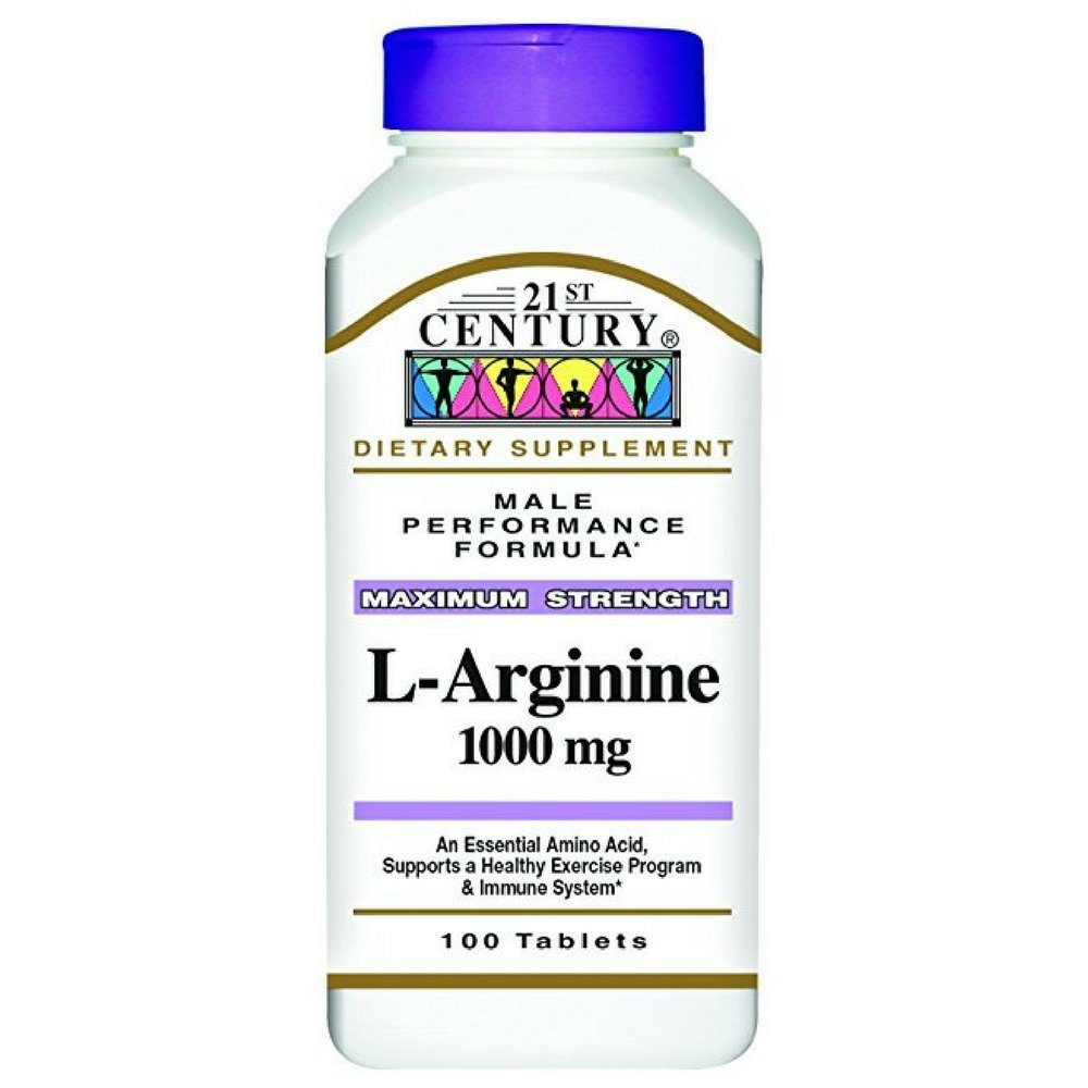 21st Century L-Arginine 1000mg, Maximum Strength 100 ea (Pack of 12)