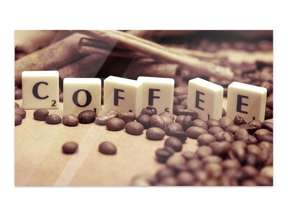 GRAZDesign Bilder auf Glas Coffee - Wandbilder Glas Kaffee - Glasbilder Kaffeebohnen für Küche Bars Cafe Wohnzimmer / 80x50cm / 100951_80x50_GP