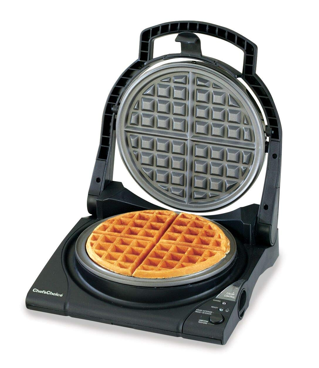 Chef sChoice 840B WafflePro Taste Texture Select Nonstick Classic Belgian Waffle Maker with Unique Quad Baking System and Easy Clean Overflow Channel, 4-Slice, Black