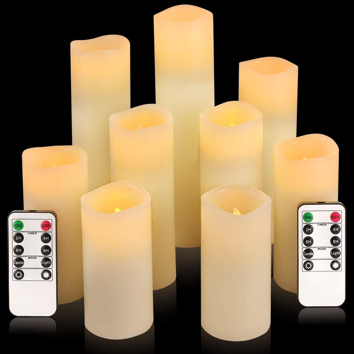 Flameless Candles, Led Candles Set of 9 H 4 5 6 7 8 9 xD 2.2 Ivory Real Wax Battery Candles with Remote Timer Batteries not Included