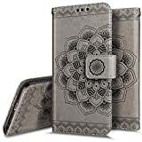 iPhone se caso, iPhone se Wallet Case, phezen Embossed Mandala Florals Piel Sintética 2en 1Wallet Flip Case Cover Slim Back Cover titular de la tarjeta, Magnético y desmontable correa de muñeca para iPhone se/5/5S, color negro, gris