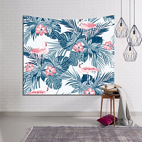 Pink Flamingo and Exotic Plants Tapestry, Tropical Palm Leaves Home Decor Tapestries Home Decor-Bedroom Living Room Wall Hanging Art Sets(GT03) (Blue) (Tropical Bedroom Sets)