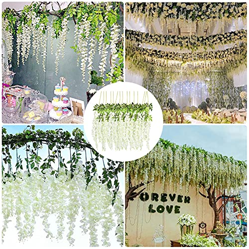 HAKACC Artificial Wisteria Vine,15PCS Fake Hanging Flowers for Home Hotel Wedding Garden Party Decoration