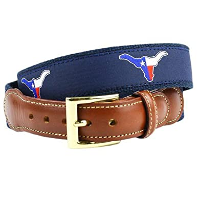 4ac0fd4ef71 Image Unavailable. Image not available for. Color  Texas Longhorn Flag  Leather Tab Belt in Navy on Navy Canvas by Country Club Prep
