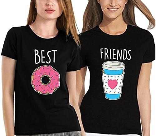 JWBBU Best Friends Camiseta Para 2 Niñas Impresión de Donuts interesantes Mangas Cortas Por