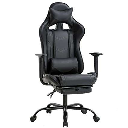 Stupendous Office Chair Pc Gaming Chair Ergonomic Desk Chair Executive Pu Leather Computer Chair Lumbar Support With Footrest Modern Task Rolling Swivel Racing Machost Co Dining Chair Design Ideas Machostcouk