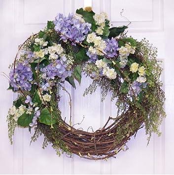 Lacey Blue Hydrangea Wreath Silk Front Door Wreath WR4492