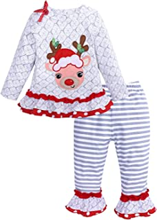 36d11aaf3521f UNIQUEONE 2PCS Toddler Baby Girls Christmas Outfits Cartoon Deer Long Sleeve  Top Pants Set