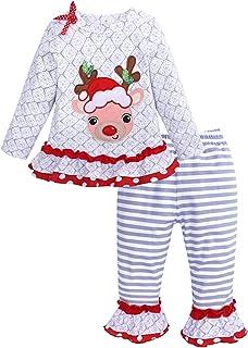 36d11aaf3521f UNIQUEONE 2PCS Toddler Baby Girls Christmas Outfits Cartoon Deer Long Sleeve  Top Pants Set