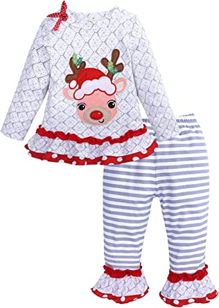 for Baby Toddler Girl Deer Top and Trousers with Red Tutu Long Sleeve Christmas 2 PCS Pajama Set