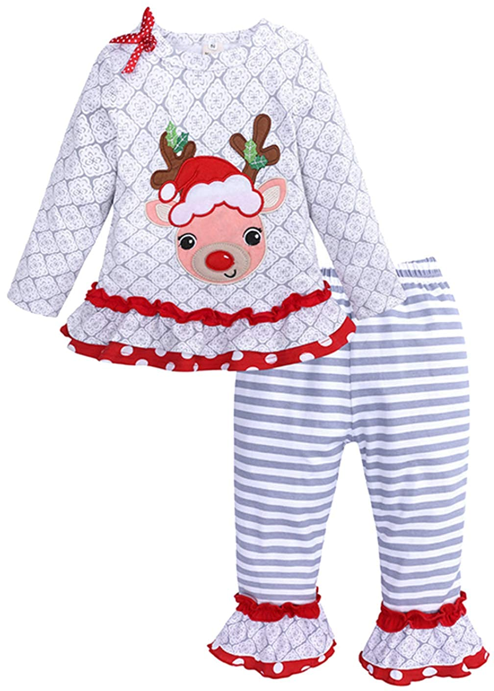 SUPEYA Toddler Boys Girls Christmas Deer Long Sleeve Shirt Striped Pants 2Pcs Set