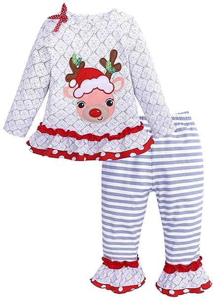 Amazon.com: 2pcs bebé bebé niñas trajes de Navidad ciervos ...