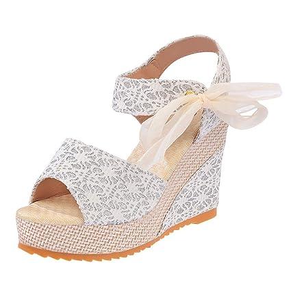 46b72314eb8d0 AIMTOPPY Summer Wedges Sandals Shinestone Waterproof Platform Open Toe Word  Buckle Women's Shoes (US:6, Green)