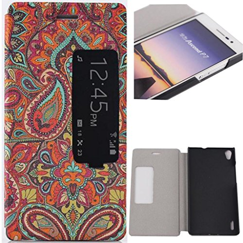 P7 Case, Huawei p7 flip cover flip case Gift_Source [Slim Fit] Window View PU Leather Case Flip Cover Folio Case for Huawei Ascend P7 (Tribal patterns),Sent Screen Protector + Stylus Pen