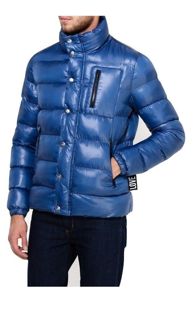 Love Moschino Men's Padded Zipped Jacket Puffer Coat, Blue, Italy 50 (USA 34) Medium