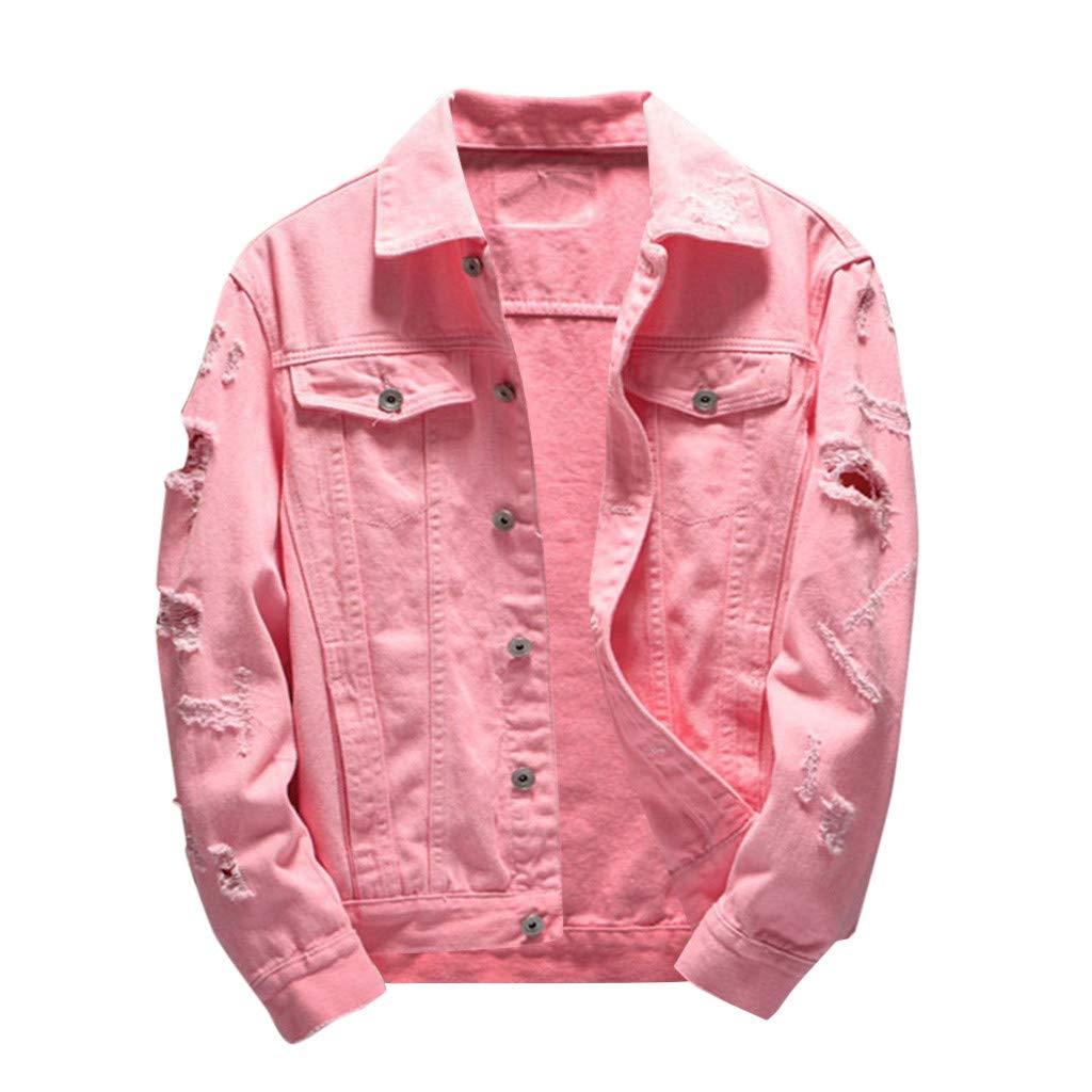 Men Denim Distressed Jacket Long Sleeve Casual Autumn Winter Regular-Fit Coat (XXXXL, Pink) by Ruichao Men Tops