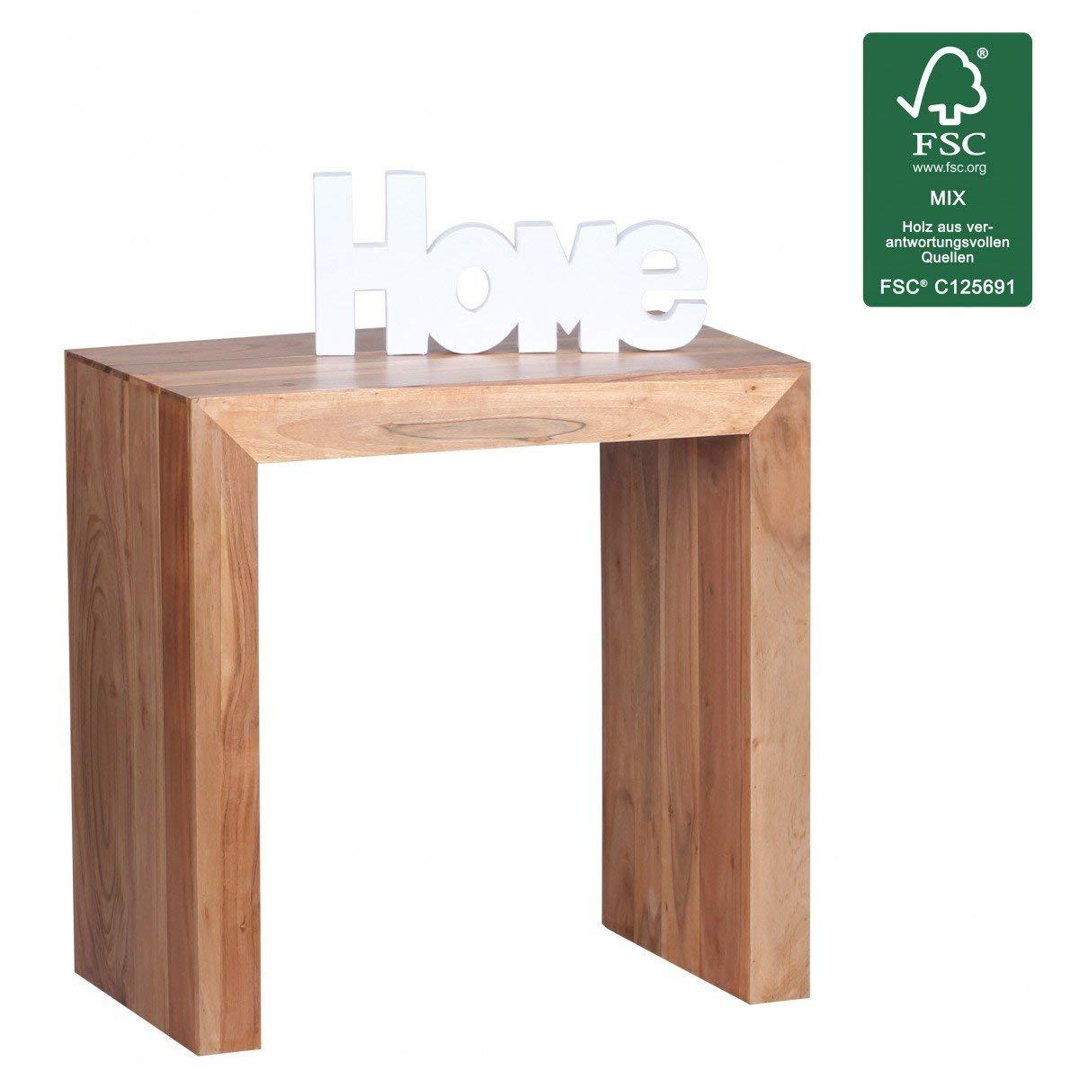 WOHNLING Beistelltisch Massiv-Holz Akazie 60 x 35 cm Wohnzimmer-Tisch Design dunkel-braun Landhaus-Stil Couchtisch Natur-Produkt Wohnzimmermöbel Unikat modern Massivholzmöbel Echtholz Anstelltisch