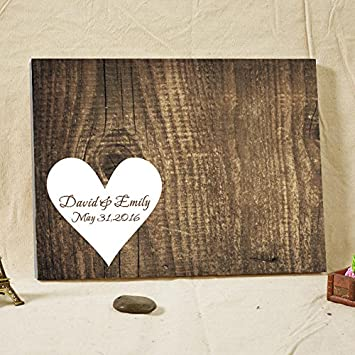 Amazon.com: Wedding Guest Book Personalized Rustic Wood Canvas ...