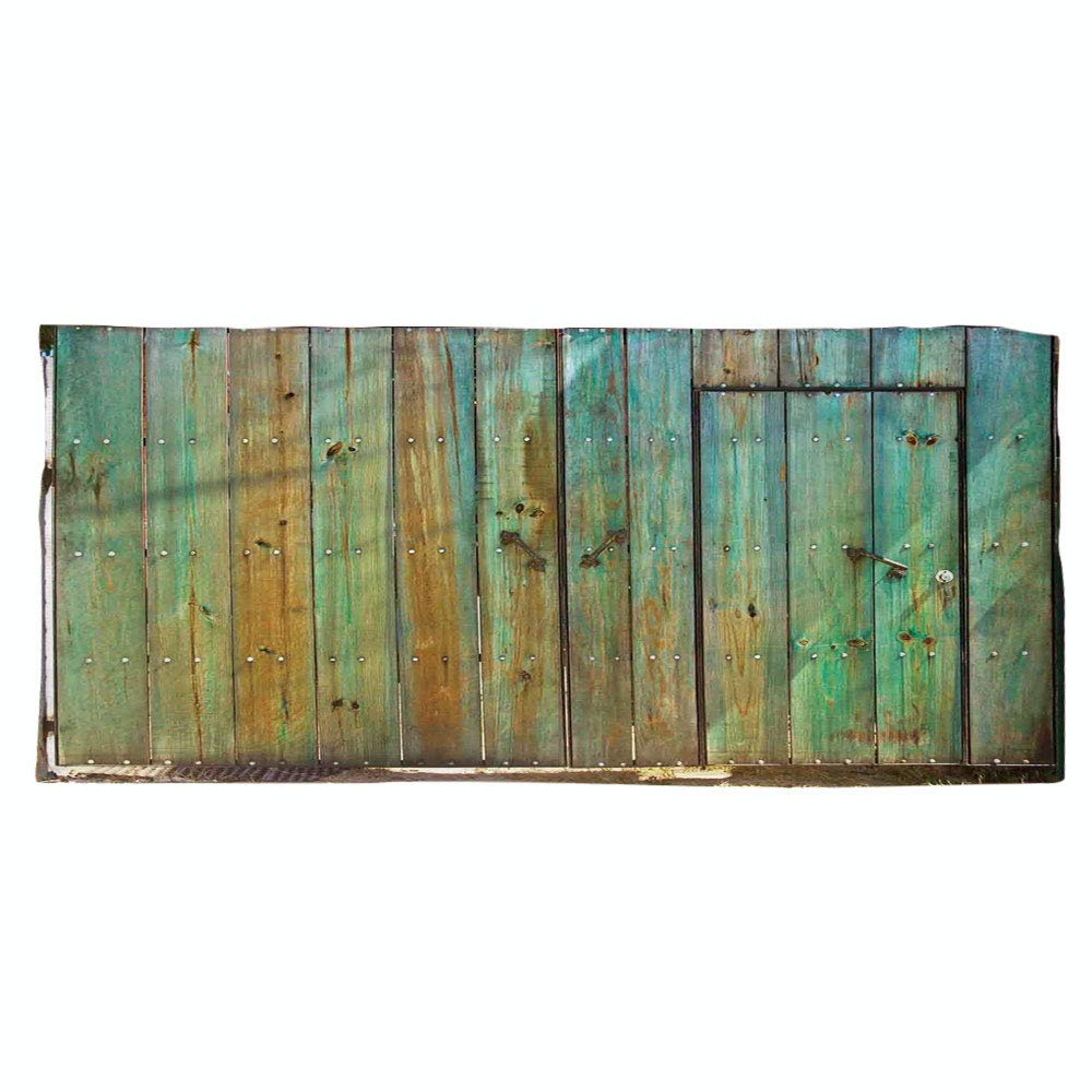 iPrint Large Cotton Microfiber Beach Towel,Vintage,Rustic Old Wood Gate Dated Tuscany House Entrance with Antique Texture Photograph,Mint Brown,for Kids, Teens, and Adults