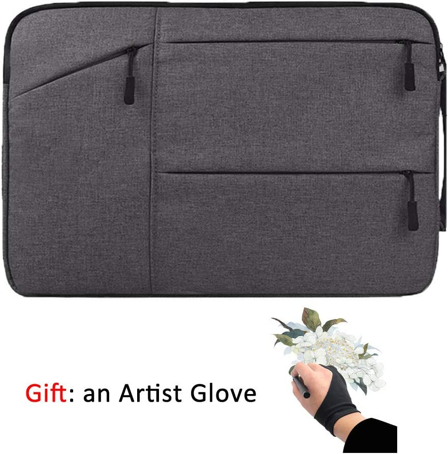 Drawing Tablet Case Carrying Bag with Artist Glove Graphics Tablet Sleeve Protective Bag for Huion H610 Pro, HS610, Xp-pen Deco 01, Star 06, Ugee M708 and Veikk A30, A50