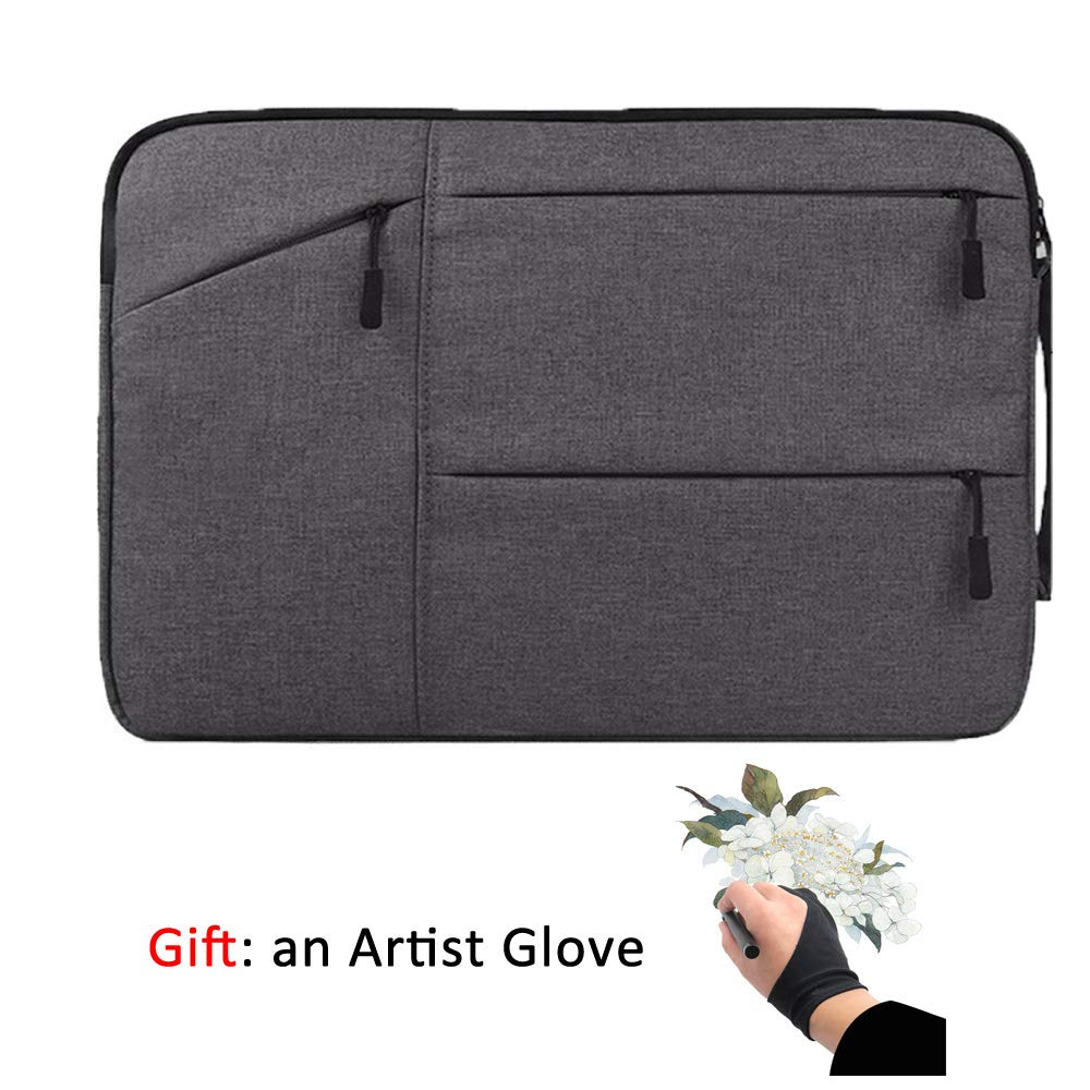 Drawing Tablet Case Carrying Bag with Artist Glove Graphics Tablet Sleeve Protective Bag for Huion H610 Pro, HS610, Xp-pen Deco 01, Star 06, Ugee M708 and Veikk A30, A50 by Higotech