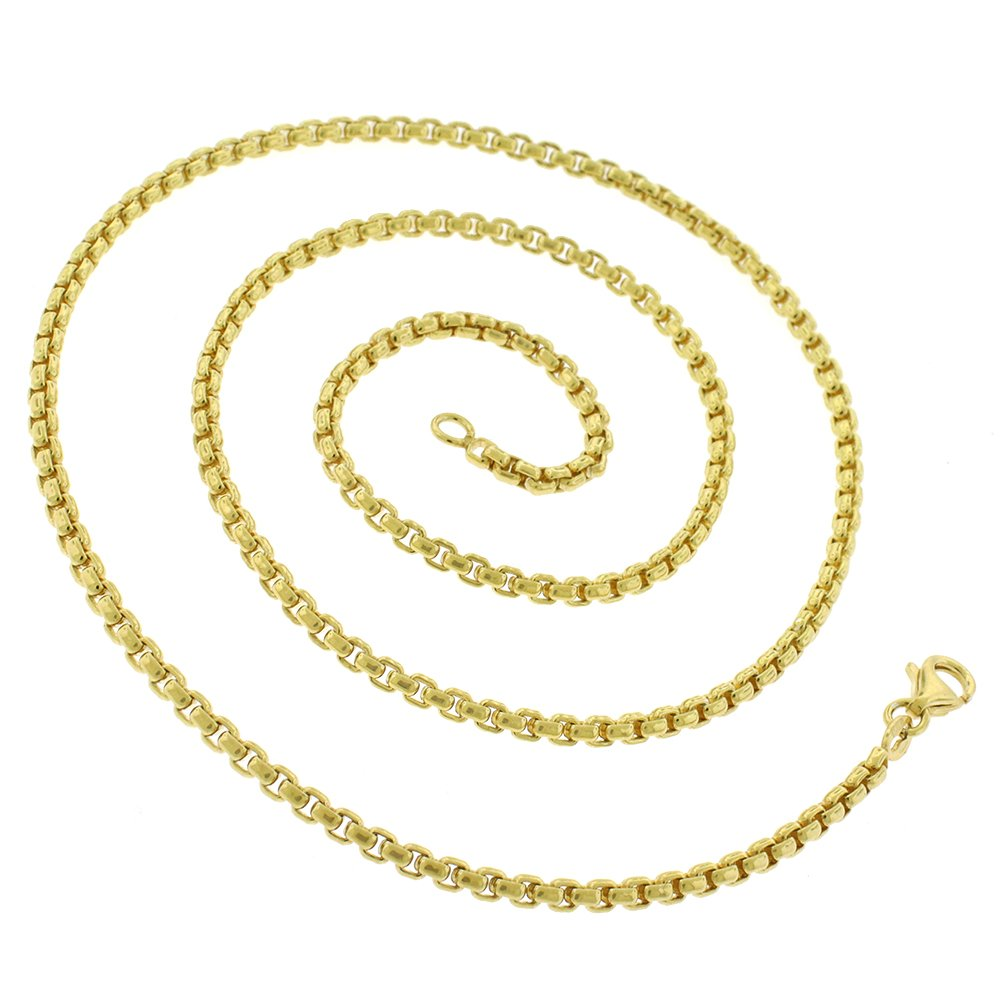 14k Yellow Gold 2.5mm Round Box Link Necklace Chain 16'' - 24'' (22) by In Style Designz (Image #1)