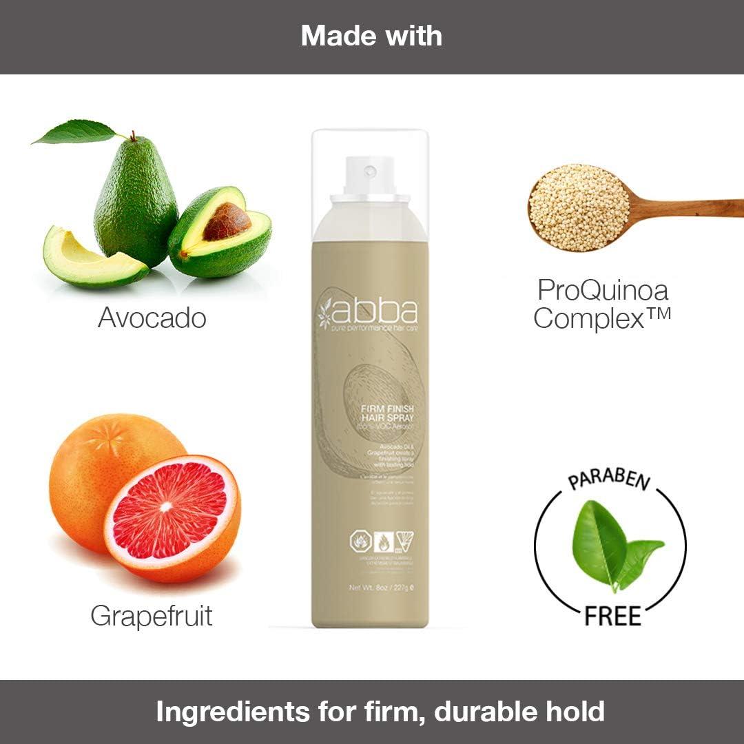 ABBA - Firm Finish Hair Spray - Aceite de pomelo y aguacate - Crea un acabado de fijación firme para todo tipo de cabello - Utiliza ingredientes ...