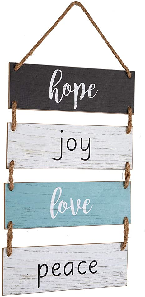 Amazon Com Yankario Rustic Farmhouse Wall Decor Sign For Living Room Bedroom Bathroom Kitchen Office Or More Wood Wall Rope Hanging Decoration Sign Hope Joy Love Peace Home Kitchen