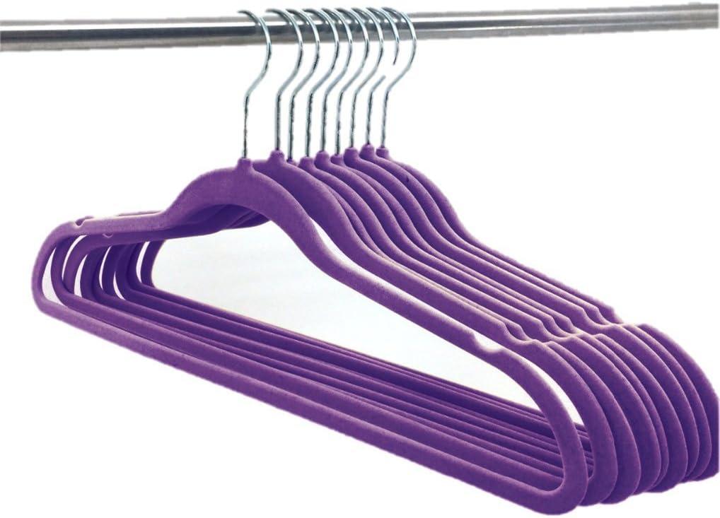 Deluxe Designer Non Slip Heavy Duty Velvet Hangers – Purple – 10pk
