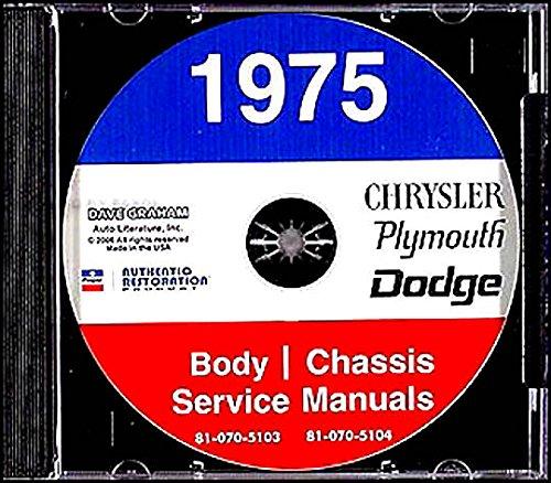 Dodge Dart Restoration - COMPLETE & UNABRIDGED 1975 DODGE, CHRYSLER & PLYMOUTH REPAIR SHOP & SERVICE MANUAL & BODY MANUAL CD INCLUDES ALL CAR MODELS. 75