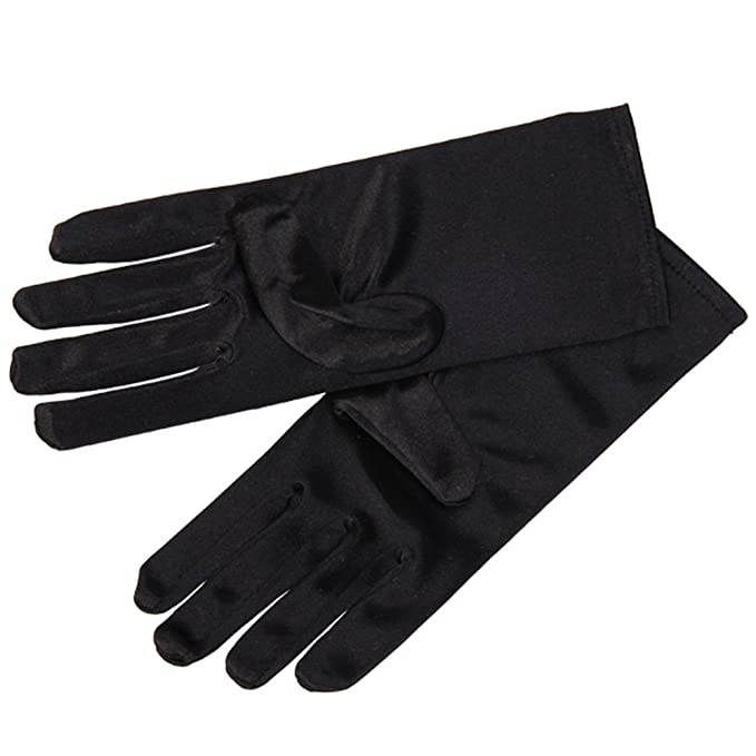 Damen Kurz Handgelenk-Handschuhe Weiche Satin für Party Ballkleid Abend Hochzeit