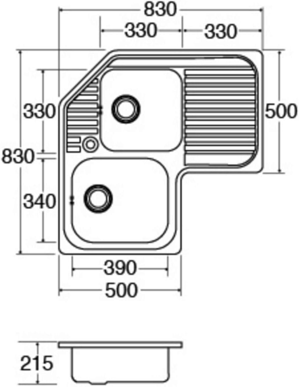 CDA CCP3SS Stainless Steel 1mm Heavy Gauge Double Bowl Corner Kitchen Sink