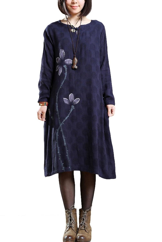 Vogstyle Damen Neue Blumenmuster Langarm Pullover Kleider