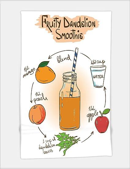 minicoso toalla de baño hechos a mano de ilustración de dibujo con fruity diente Smoothie incluye