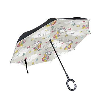 BENNIGIRY Paraguas Exterior Negro con Estrellas de Unicornio de Color UV y sombrilla Ligera, Elegante