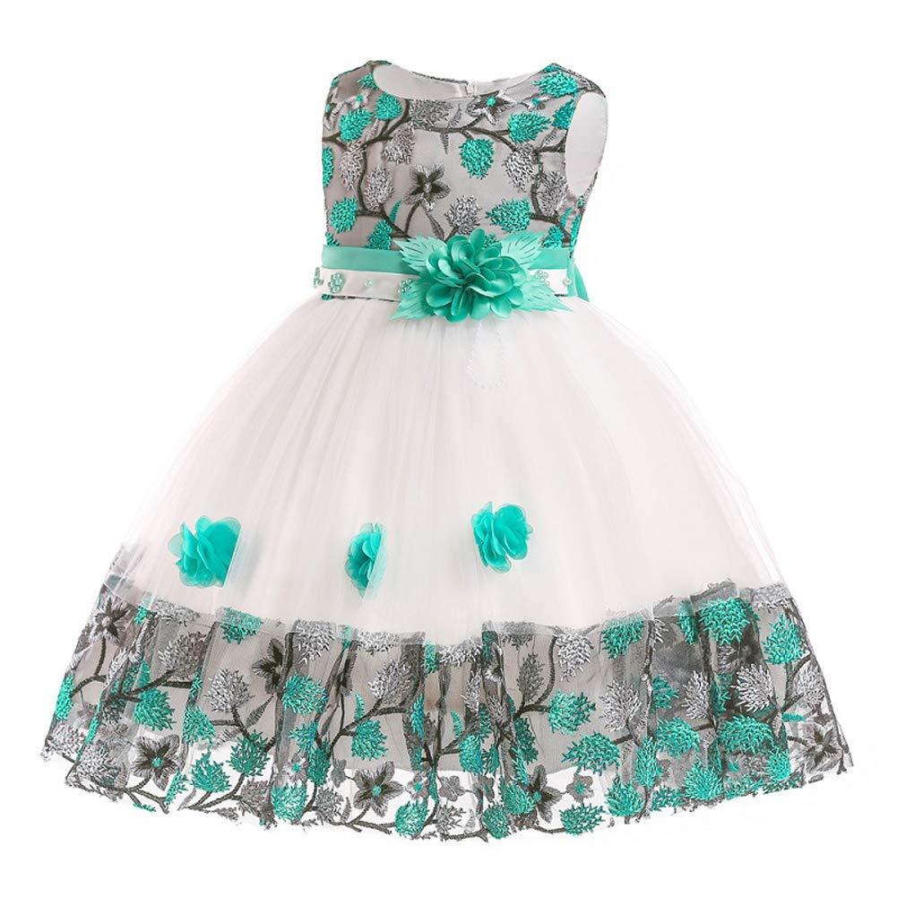 Myosotis510 Girls Lace Princess Wedding Baptism Dress Long Sleeve Formal Party Wear for Toddler Baby Girl