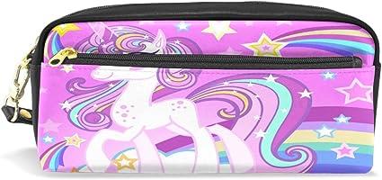Estuche para lápices, diseño de unicornio arcoíris impreso bolsa de viaje de maquillaje de gran capacidad de cuero impermeable 2 compartimentos para niñas niños mujeres hombres colorido: Amazon.es: Oficina y papelería