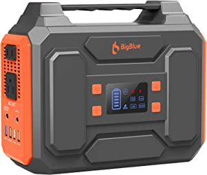BigBlue 250Wh Portable Power Station with 110V Pure Sine Wave AC Outlet/2 DC Ports/4 USB Ports, CPAP Battery Backup Power Supply, Battery Generator with Flashlight for Outdoors Camping, Emergency