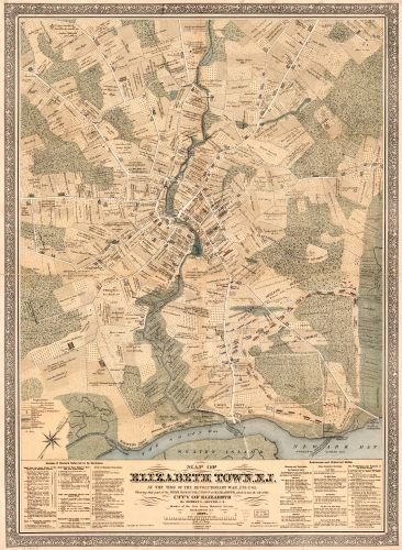 1879 Map of Elizabeth Town, N.J. at the time of the Revolutionary War, 1775-1783. Showing that - Elizabeth Nj Stores