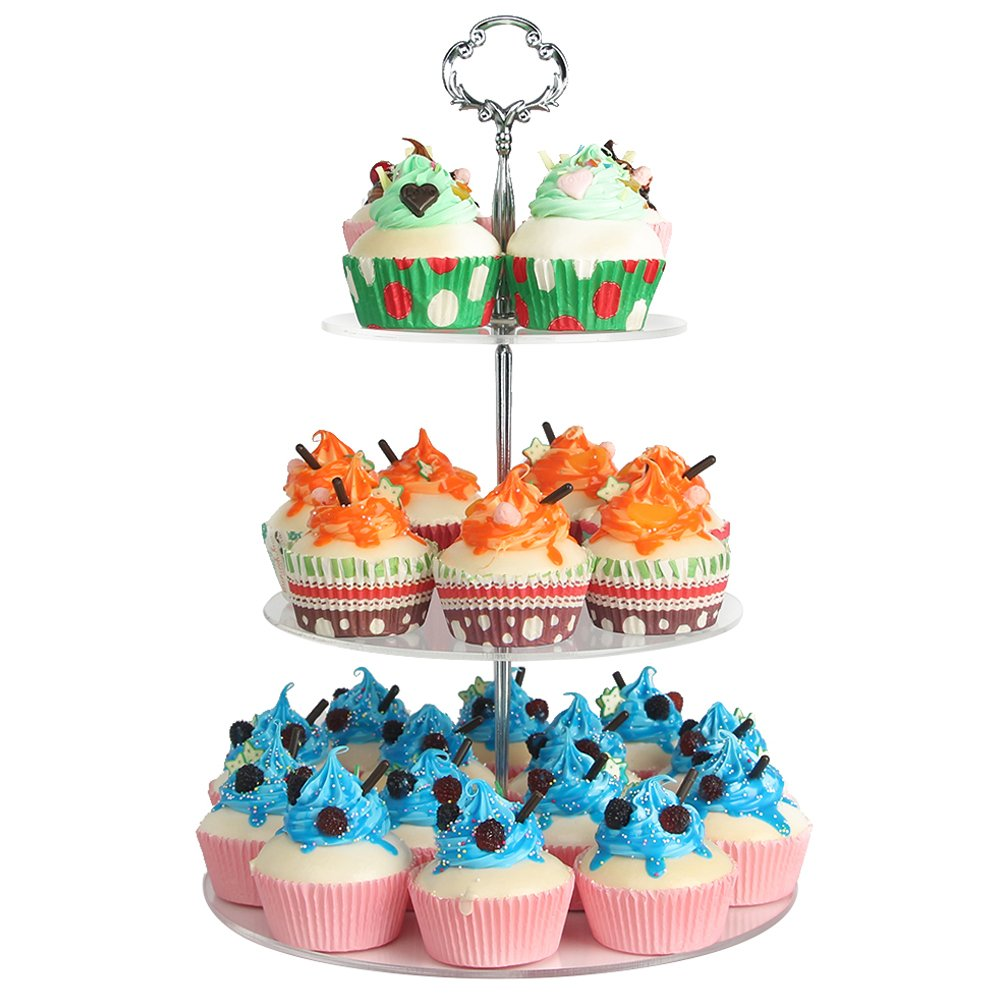 NeoBee 3-Tier Round Party Cake Stands with Silver Handle, With stainless steel screw connection / cake stand, cupcake stands / cupcake display, Cupcake rack, Food display stands.