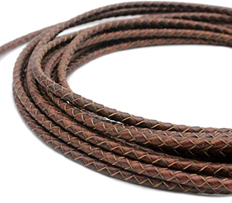 KONMAY 5 Yards 3.0mm Antique Brown Round Geneuine Braided Leather Cord Bolo Leather Cord