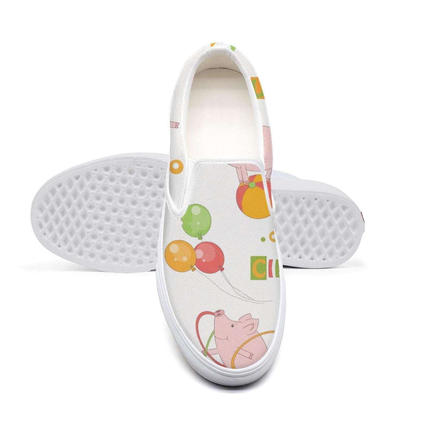 Baby Colorful Cute Pig Playing with Ball and Hula Hoop Ride A Bicycle Womens White Solesperfect Classic Sneaker Round Toe Canvas Slip-On Shoes