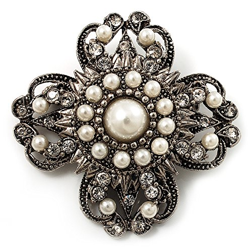 Avalaya Vintage Filigree Simulated Pearl Cross Brooch (Antique Silver)
