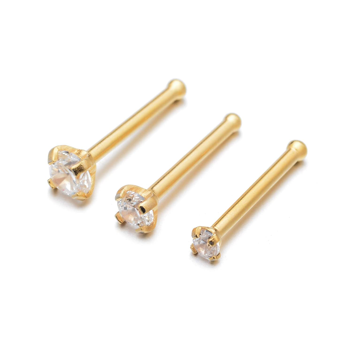 BodyPJ Sparkles 20G Clear CZ 316L Stainless Steel Nose Studs Rings Body Piercing 1.5mm 2.0mm 2.5mm