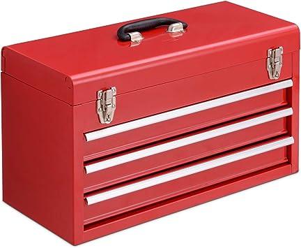 Caja de herramientas, caja de herramientas, caja de herramientas de metal con tres cajones, vacía, portátil, Rojo: Amazon.es: Bricolaje y herramientas