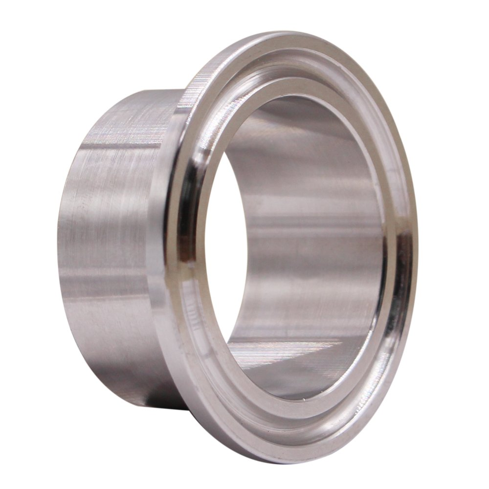 Dernord Stainless Steel 304 Sanitary Fitting, Long Weld Clamp Ferrule Fits Tri Clamp 1-1/2' Tube Outer Diameter Long Weld Clamp Ferrule Fits Tri Clamp 1-1/2 Tube Outer Diameter