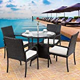 Tangkula 5 PCS Patio Dining Set Outdoor Wicker Rattan Table and Chairs For Sale