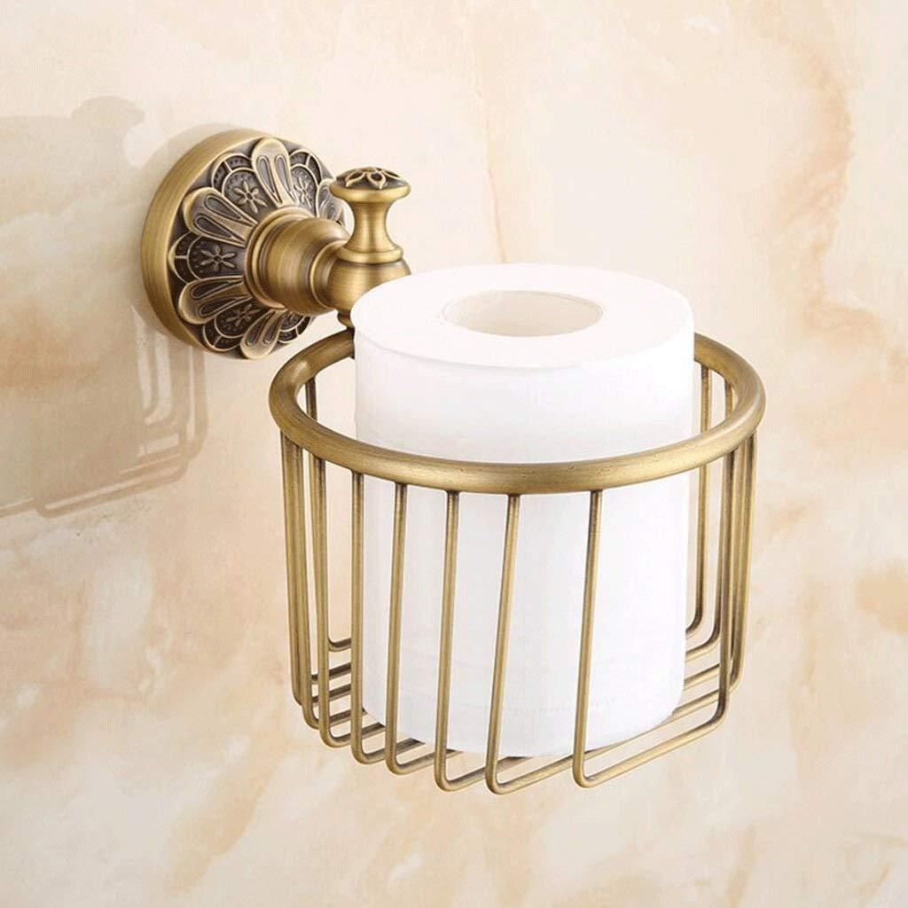 SYTDDP Retro Creative Brass Carved Paper Towel Holder Bathroom Paper Towel Basket roll Holder Wall Mount