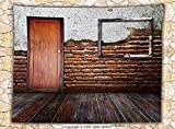 Antique Decor Fleece Throw Blanket Picture Frame put on a Damaged Brick Wall in Aged Old Room Rustic Wooden Floor Throw