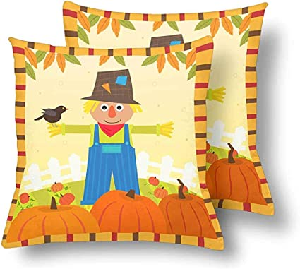 Cute Scarecrow Bird Pumpkins Field Throw Pillow Covers 18x18 Set Of 2 Pillow Cushion Cases Pillowcase For Home Couch Sofa Bedding Amazon Co Uk Kitchen Home